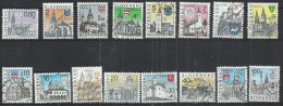 SLOVAKIA - CITIES AND COAT OF ARMS - LOT OF 16 DIFFERENT - USED OBLITERE GESTEMPELT USADO - Slovakia
