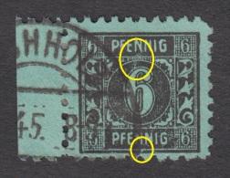 Mecklenburg - Vorpommern Nr. 8 Mit Plattenfehler Auf Feld 31 + Kratzer über 6 - Gestempelt Vom Rand - Zone Soviétique