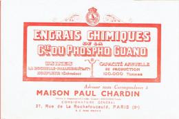 BUVARD ENGRAIS PHOSPHO GUANO USINES LA ROCHELLE PALLICE ET HONFLEUR MAISON CHARDIN 27 RUE DE LA ROUCHEFOUCAULD A PARIS 9 - Agricoltura