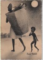 BUON NATALE NOEL ERITREA AFRICA REGALI CESTA DI DONI PAESAGGIO CAPANNE AFRICANE BAMBINI ENFANTS - Christmas