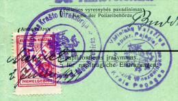 Lithuania MEMEL KLAIPEDA 1931 Automobile Car Licence License Passport Revenue Fiscal Tax Gebührenmarke Litauen Lituanie - Litauen