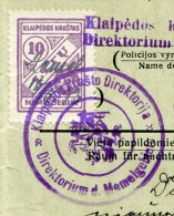 Lithuania MEMEL KLAIPEDA 1933 Automobile Car Licence License Passport Revenue Fiscal Tax Gebührenmarke Litauen Lituanie - Litauen