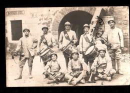 MIL Carte Photo, 53è RI Régiment Infanterie, 29è Cie, Fanfare, Tambours, Clairon, Boucherie, Postée De Perpignan, 1917 - Régiments