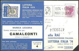 29-11-74 - CARTOLINA LOTTERIA ITALIA 74 - SIRACUSANA 40 LIRE - FALSO DI MILANO - SIGNED DIENA - 1961-70: Marcophilie