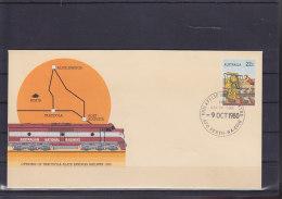 Australia Postal Stat Cover 22c Tarcoola - Alice Springs Railway FDC Cls Perth - Postwaardestukken