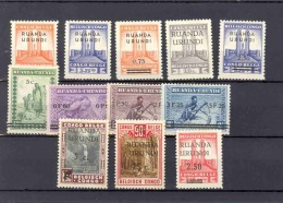 RUANDA-URUNDI 1941 ISSUE COB 114/125 LH