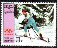 KAMPUCHEA   N° 711   * *    Jo 1988  Ski De Fond - Sci