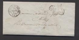 ALLIER 03 LAC MOULINS SUR ALLIER Tad Type 15 Du 25 Février 1852 Taxe 25 DT TB - Marcophilie (Lettres)