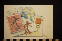 CP, Timbres Representations, Journée Du Timbre 1996 La Semeuse De Roty Dessin Original De Roland Irolla Illustration - Timbres (représentations)