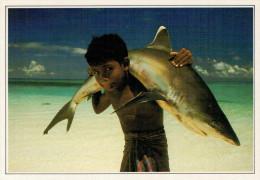 MALDIVE: FANCIULLO CON SQUALO DALLA PINNA BIANCA      (NUOVA CON DESCRIZIONE DEL SITO) - Maldives