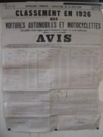 1926 AFFICHE Classement des Voitures Automobiles et Motocyclettes POUVANT ETRE REQUISES PAR L ARMEE 21 Cote d'Or