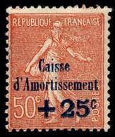 """FRANCE 1929 - Yv. 254 * Variété """"""""sign.en Haut""""""""  Cote= 35,00 EUR - Caisse D'Amortissement. Semeuse Lignée ..Réf.FRA2670 - Ungebraucht"""