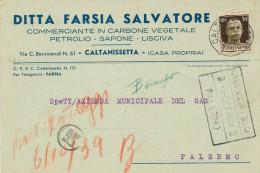 CALTANISSETTA DITTA FARSIA SALVATORE COMMERCIANTE IN CARBONE VEGETALE , PETROLIO 1939 - Caltanissetta