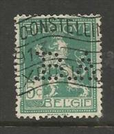 """BELGIQUE , BELGIE ; Perforé , Perfin ; """" B.A. """" , 5 C , Avec Nom Du Graveur , 1912 - 1913 , N° YT 110 - Perforés"""