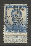 """BELGIQUE , BELGIE ; Perforé , Perfin ; """" CA """" , 25 C , Albert 1er , Avec Nom Du Graveur , 1912 - 1913 , N° YT 120 - Perforés"""