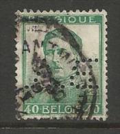 """BELGIQUE , BELGIE ; Perforé , Perfin ; """" B.A. """" , 40 C , Albert 1er , Avec Nom Du Graveur , 1912 - 1913 , N° YT 121 - Perforés"""