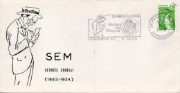 Flamme Sur Enveloppe : SEM, Caricaturiste Au Musée Du Périgord (Périgueux En Dordogne-Périgord) De 1980 - Maschinenstempel (Werbestempel)