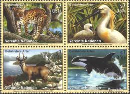 UNO - Wien 303-306 Viererblock (kompl.Ausg.) Postfrisch 2000 Gefährdete Tiere - Wien - Internationales Zentrum