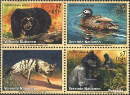 UNO - Wien 327-330 Viererblock (kompl.Ausg.) Postfrisch 2001 Gefährdete Tiere - Wien - Internationales Zentrum