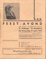 kleine affiche KSA Feestavond - St Walburga - H. Magdalena - Brugge 1937