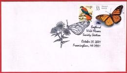 """Affranchissement  """"PAPILLONS"""" USA 2001 Très Belle Oblitération - Butterflies"""