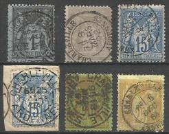 France - Type Sage - N° 83+87+90+92+96+101 - Obl. CHARLEVILLE ARDENNES - 1876-1898 Sage (Type II)