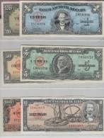 O) 1958 CUBA-CARIBE, DIFFERENT YEARS. SET OF BANK NOTES, REPUBLIC 1, 5, 10, 20, 50 AND 100 PESOS UNC PRECASTRO