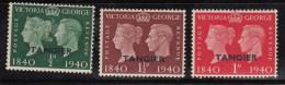 MOROCCO AGENCIES TANGIER 1940 KGVI SG 248/50 CENTENARY OF POSTAGE STAMP CENTENARIO DEL SELLO SET MH - Gran Bretagna (vecchie Colonie E Protettorati)