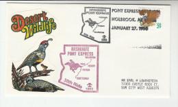 1993 Hashknife  USA  Holbrook PONY EXPRESS Anniv HORSES EVENT COVER  Horse Bird  Stamps - Horses