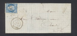ISERE 38 LSC FROGES   Tad Type 17 Du 21 Octobre 1874 GC 1595  Sur N° 60 TB  Ind 13 - Postmark Collection (Covers)