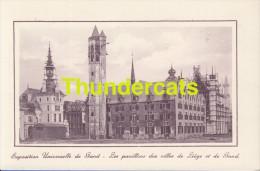 CPA EXPOSITION UNIVERSELLE DE GAND GENT TENTOONSTELLING 1913 ** LES PAVILLONS DES VILLES DE LIEGE ET DE GAND - Expositions