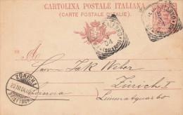 Italien 1904 - Ganzsache Auf Pk Von Salerno > Zürich - 1900-44 Victor Emmanuel III.