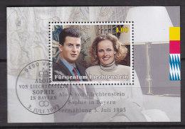 LIECHTENSTEIN  Block 15, Gestempelt,  1993, Hochzeit Von Erbprinz Alois Von Und Zu Liechtenstein Und Herzogin Sophie - Blocks & Kleinbögen