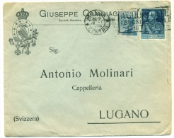 Bella Busta Pubblicitaria Con Sassone No 187 1 L. Azzurro (13½)  Andata In Svizzera 1926 - 1900-44 Victor Emmanuel III.