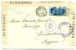 Busta Con 1 L. 25 Hitler E Mussolini Azzurro Censurata Con Ufficio Censura Posta Estera Ed Altre Andata In Svizzera 1942 - 1900-44 Victor Emmanuel III.