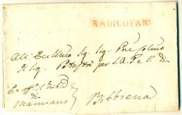 1823 RADICOFANI (Siena) Toscana In Rosso Ex Off.o Manciano Verso Bibbiena - Documento Senza Contenuti - Italien
