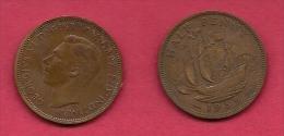 UK, 1939, Very Fine Used Coin, 1/2 Penny, George VI, Bronze, KM 844, C2168 - 1902-1971 :  Post-Victoriaanse Muntstukken
