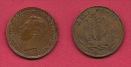 UK, 1942, Very Fine Used Coin, 1/2 Penny, George VI, Bronze, KM 844, C2173 - 1902-1971 : Post-Victorian Coins