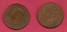 UK, 1943, Very Fine Used Coin, 1/2 Penny, George VI, Bronze, KM 844, C2174 - 1902-1971 : Post-Victorian Coins