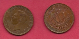 UK, 1944, Very Fine Used Coin, 1/2 Penny, George VI, Bronze, KM 844, C2175 - 1902-1971 : Post-Victorian Coins