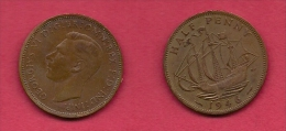 UK, 1946, Very Fine Used Coin, 1/2 Penny, George VI,  Bronze, KM 844, C2177 - 1902-1971 : Post-Victorian Coins