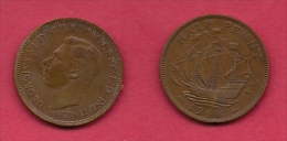 UK, 1948, Very Fine Used Coin, 1/2 Penny, George VI, Bronze, KM 844, C2178 - 1902-1971 : Post-Victorian Coins