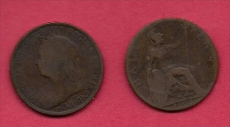 UK, 1900, Very Fine Used Coin, 1/2 Penny, Victoria, Bronze,  , C2204 - 1816-1901 : 19th C. Minting