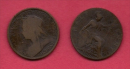 UK, 1900, Very Fine Used Coin, 1/2 Penny, Victoria, Bronze,  , C2205 - 1816-1901 : 19th C. Minting