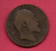 UK, 1907, Very Fine Used Coin, 1/2 Penny, Edward VII, Bronze,  , KM793.2 C2210 - 1902-1971 : Post-Victorian Coins