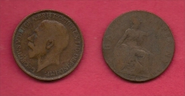 UK, 1912, Very Fine Used Coin, 1/2 Penny, George V, Bronze,  , KM 809,  C2213 - 1902-1971 : Post-Victorian Coins