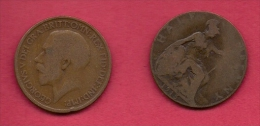 UK, 1915, Very Fine Used Coin, 1/2 Penny, George V, Bronze,  , KM 809,  C2216 - 1902-1971 : Post-Victorian Coins