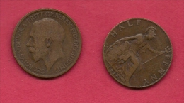 UK, 1919, Very Fine Used Coin, 1/2 Penny, George V, Bronze,  , KM 809,  C2220 - 1902-1971 : Post-Victorian Coins