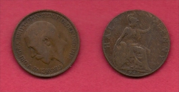 UK, 1921, Very Fine Used Coin, 1/2 Penny, George V, Bronze,  , KM 809,  C2222 - 1902-1971 : Post-Victorian Coins