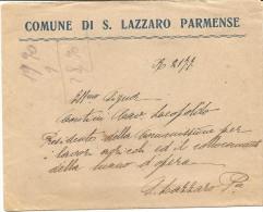 Q-S.LAZZARO PARMENSE-BUSTA INTESTATA COMUNE-AL RETRO TIMBRO DEL COMUNE STESSO - Parma